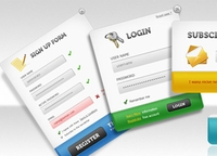 UI PSD Pack &#8211; Sign up forms, login panels, subscribe forms + download buttons